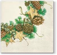Servietten 33x33 cm - Cones Wreath