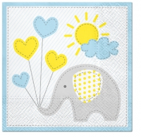 Servietten 33x33 cm - Cute Elephant (light blue)