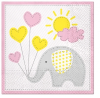 Servietten 33x33 cm - Cute Elephant (light pink)