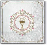 Servietten 33x33 cm - First Communion (light pink)