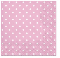 Servietten 33x33 cm - Dots (light pink)