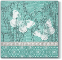 Servietten 33x33 cm - Butterflies on Linen TURQUOISE