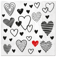Servietten 33x33 cm - Crazy Love black