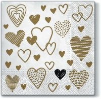 Servietten 33x33 cm - Crazy Love GOLD