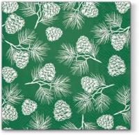 Servietten 33x33 cm - Cones green
