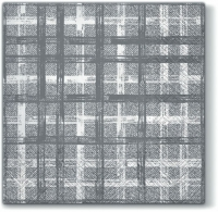 Servietten 33x33 cm - Fabric Check grey