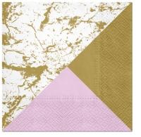 Servietten 33x33 cm - Marble Style GOLD