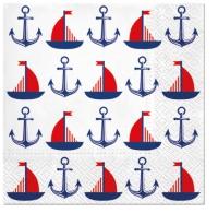Servietten 33x33 cm - Ships  & Anchors