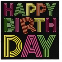 Servietten 33x33 cm - Birthday Neons (colorfull)