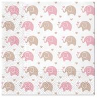 Servietten 33x33 cm - Baby Elephants (pink)
