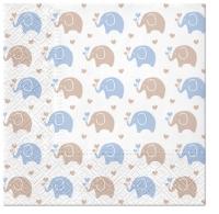 Servietten 33x33 cm - Baby Elephants (blue)