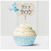 Servietten 33x33 cm - Blue Cupcake