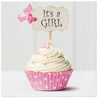 Servietten 33x33 cm - Pink cupcake