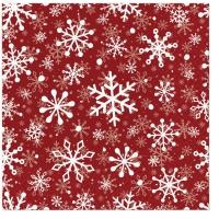 Servietten 33x33 cm - Christmas Snowflakes red