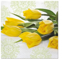 Servietten 33x33 cm - Yellow Tulips