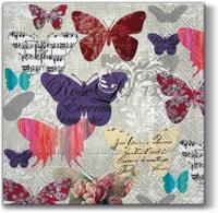 Servietten 33x33 cm - Romantische Schmetterlinge