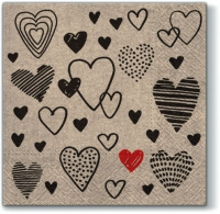 Servietten 33x33 cm - We Care Crazy Love black
