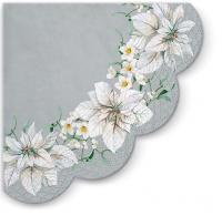 Servietten - Rund - White Poinsettia Silver