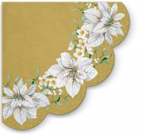 Servietten - Rund - White Poinsettia Gold