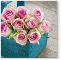 Lunch Servietten Pink Rose Blue Box