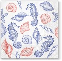 Lunch Servietten Seahorses and Shells blue
