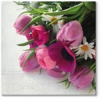 Servietten 33x33 cm - Rosa Blumenstrauß