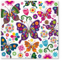 Servietten 33x33 cm - Colorful Butterflies