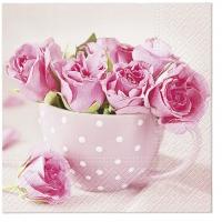 Servietten 33x33 cm - Roses in a Cup