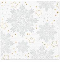 Servietten 33x33 cm - Schneeflocken (Silber)