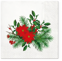 Servietten 33x33 cm - Poinsettia with Holly
