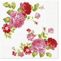 Servietten 33x33 cm - Rosen Zusammensetzung rosa