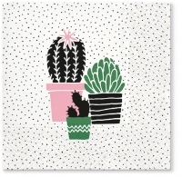 Servietten 33x33 cm - Cactus on Dots rose