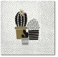 Servietten 33x33 cm - Cactus on Dots gold
