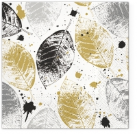Servietten 33x33 cm -  Leaves Print gold