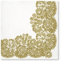 Servietten 33x33 cm - Lacy frame gold