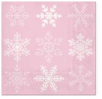 Servietten 33x33 cm - Big Snowflakes pink