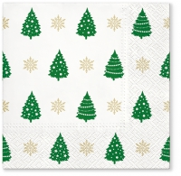 Servietten 33x33 cm - Trees Pattern green