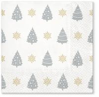 Servietten 33x33 cm - Trees Pattern silver