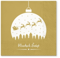 Servietten 33x33 cm - Wishes on bauble gold