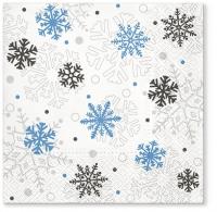 Servietten 33x33 cm - Serwetki Weihnachtsflocken blau