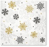 Servietten 33x33 cm - Serwetki Weihnachtsflocken Gold
