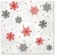 Servietten 33x33 cm - Xmas flakes red