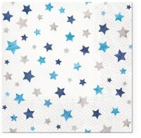 Servietten 33x33 cm - Sparkling Stars blue