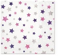 Servietten 33x33 cm - Sparkling Stars violet