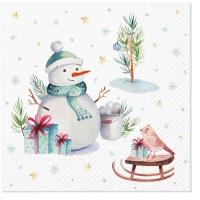 Servietten 33x33 cm - Lovely snowmann