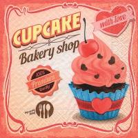 Cocktail Servietten Cupcake with love