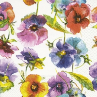 Cocktail Servietten Watercolour pansies