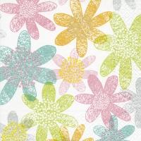 Servietten 33x33 cm - Les fleurs pastels