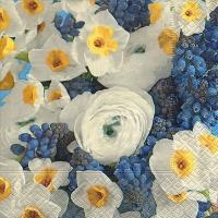 Servietten 33x33 cm - Weiß und Blau