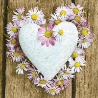 Servietten 33x33 cm - Daisy heart